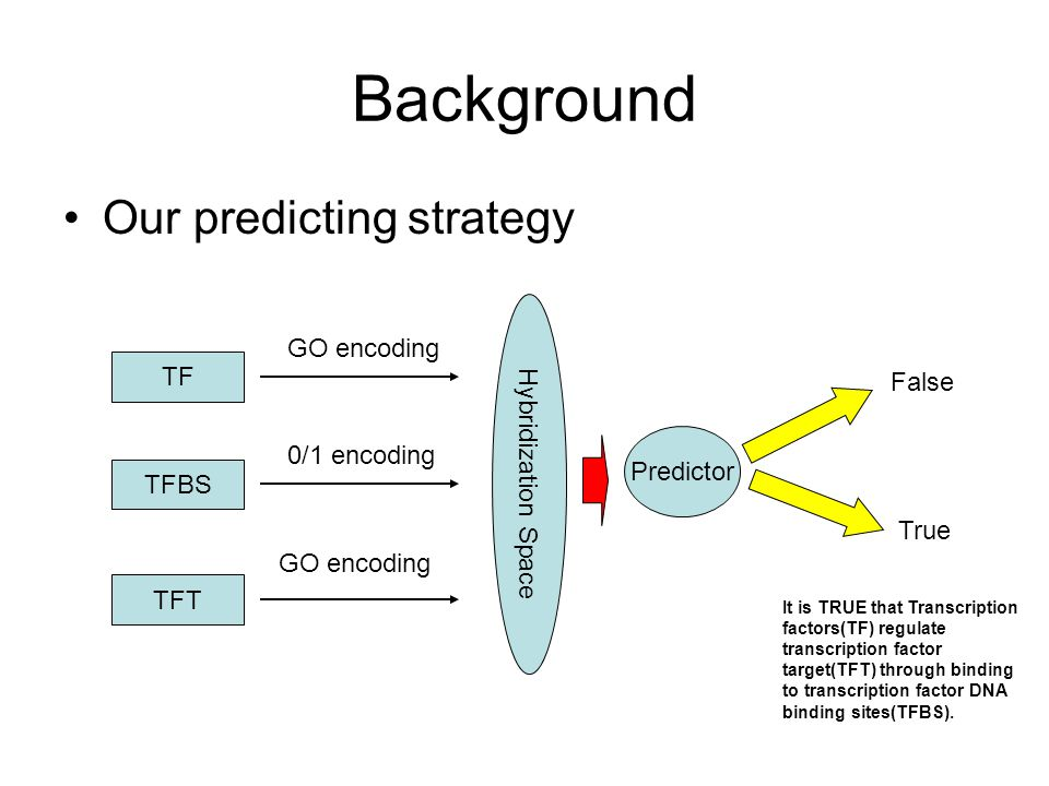 Background Our predicting strategy TF TFBS TFT GO encoding 0/1 encoding GO encoding Hybridization Space True False Predictor It is TRUE that Transcription factors(TF) regulate transcription factor target(TFT) through binding to transcription factor DNA binding sites(TFBS).