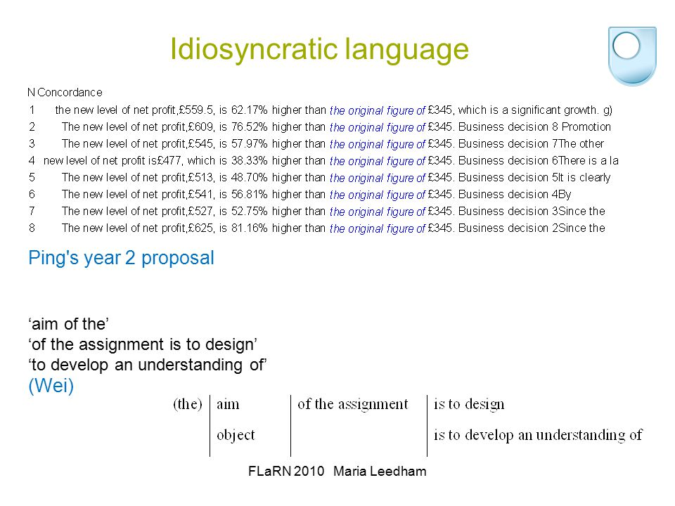 Idiosyncratic language FLaRN 2010 Maria Leedham Ping s year 2 proposal 'aim of the' 'of the assignment is to design' 'to develop an understanding of' (Wei)