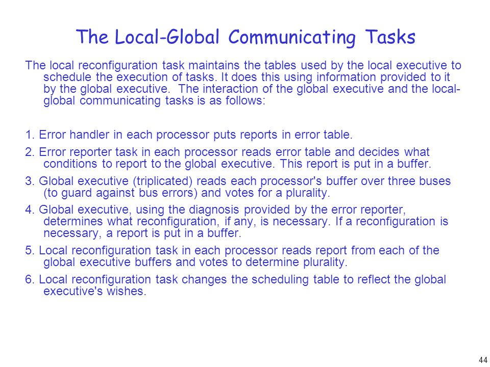 44 The Local-Global Communicating Tasks The local reconfiguration task maintains the tables used by the local executive to schedule the execution of t