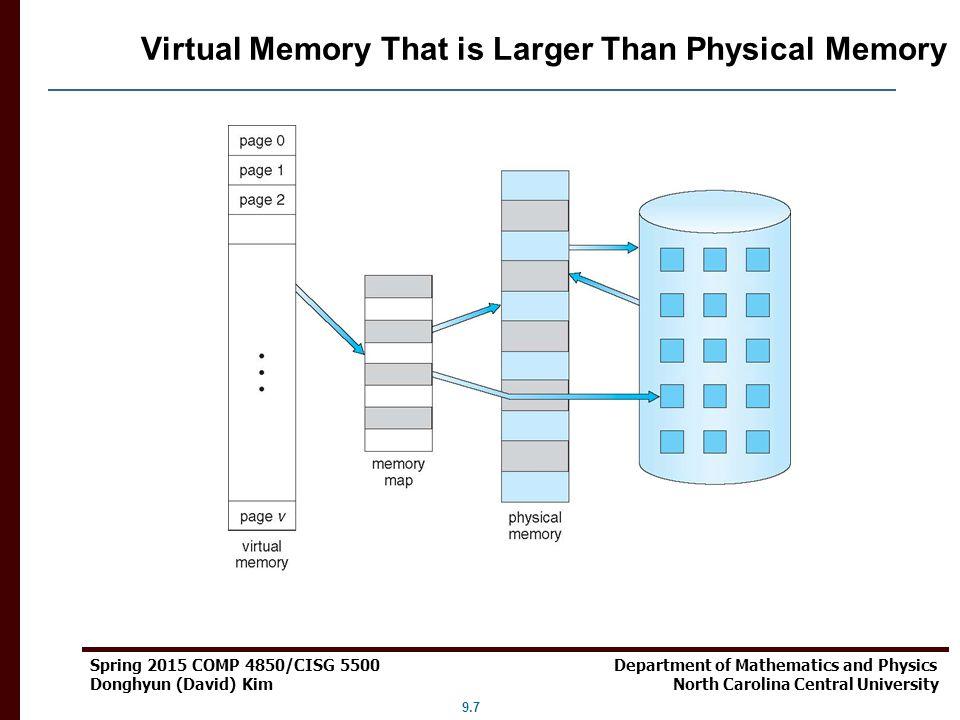 9.7 Spring 2015 COMP 4850/CISG 5500 Department of Mathematics and Physics Donghyun (David) Kim North Carolina Central University Virtual Memory That i