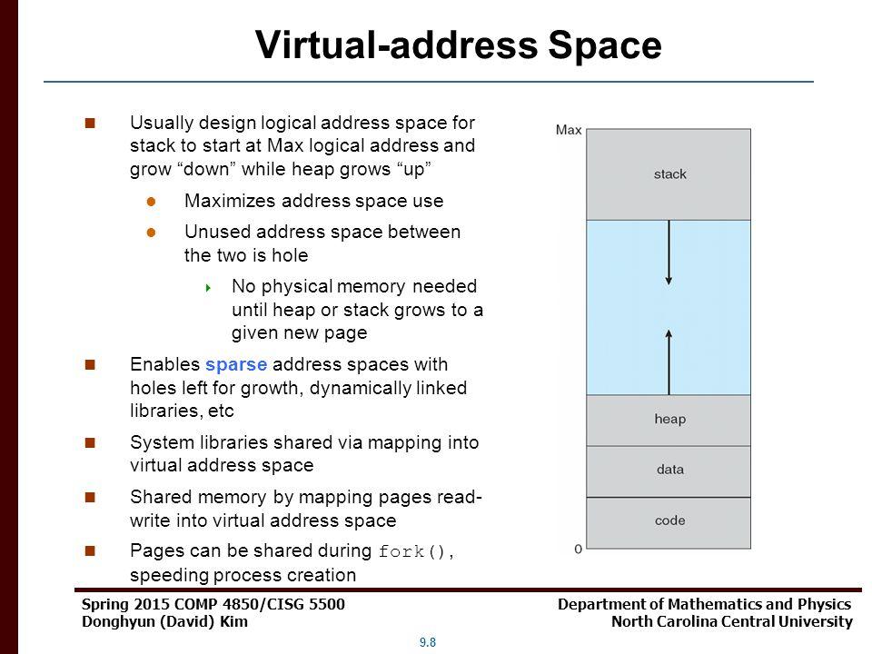 9.8 Spring 2015 COMP 4850/CISG 5500 Department of Mathematics and Physics Donghyun (David) Kim North Carolina Central University Virtual-address Space