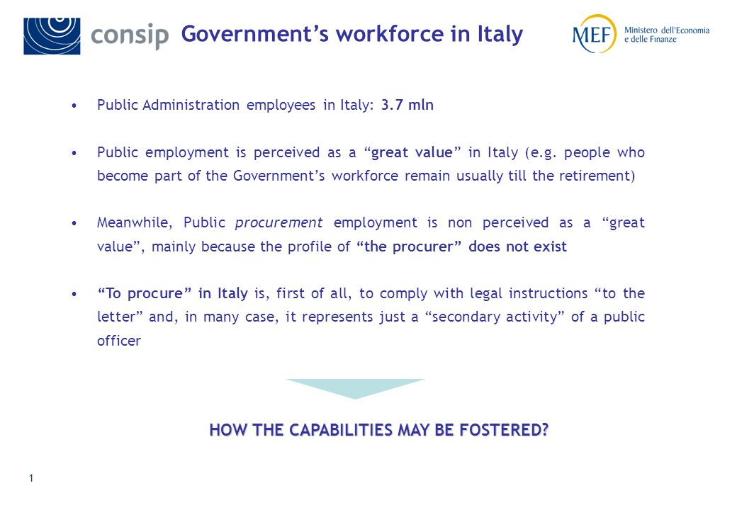 1 Public Administration employees in Italy: 3.7 mln Public employment is perceived as a great value in Italy (e.g.