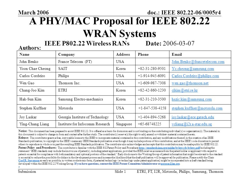 doc.: IEEE 802.22-06/0005r4 Submission March 2006 ETRI, FT, I2R, Motorola, Philips, Samsung, ThomsonSlide 132 Frequency Hopping Purpose –To dismiss any presumption that the proposed MAC does not allow frequency hopping Treated as an optional implementation issue In order to avoid an in-band quiet period, a WRAN may hop to a Channel A provided: –The Channel A evaluation meets the Channel Availability Check Time as specified in the FRD –The Channel A is not occupied by any incumbent –The Channel A is not occupied by any 802.22 network Otherwise, it may be worse than sticking to your current channel –Adjacent channels have also been checked for the presence of incumbents, as to adhere to the EIRP profile