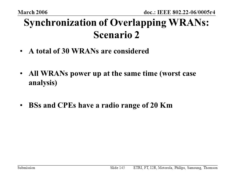 doc.: IEEE 802.22-06/0005r4 Submission March 2006 ETRI, FT, I2R, Motorola, Philips, Samsung, ThomsonSlide 145 Synchronization of Overlapping WRANs: Scenario 2 A total of 30 WRANs are considered All WRANs power up at the same time (worst case analysis) BSs and CPEs have a radio range of 20 Km