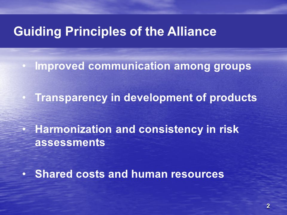 Improved communication among groups Transparency in development of products Harmonization and consistency in risk assessments Shared costs and human resources Guiding Principles of the Alliance 2