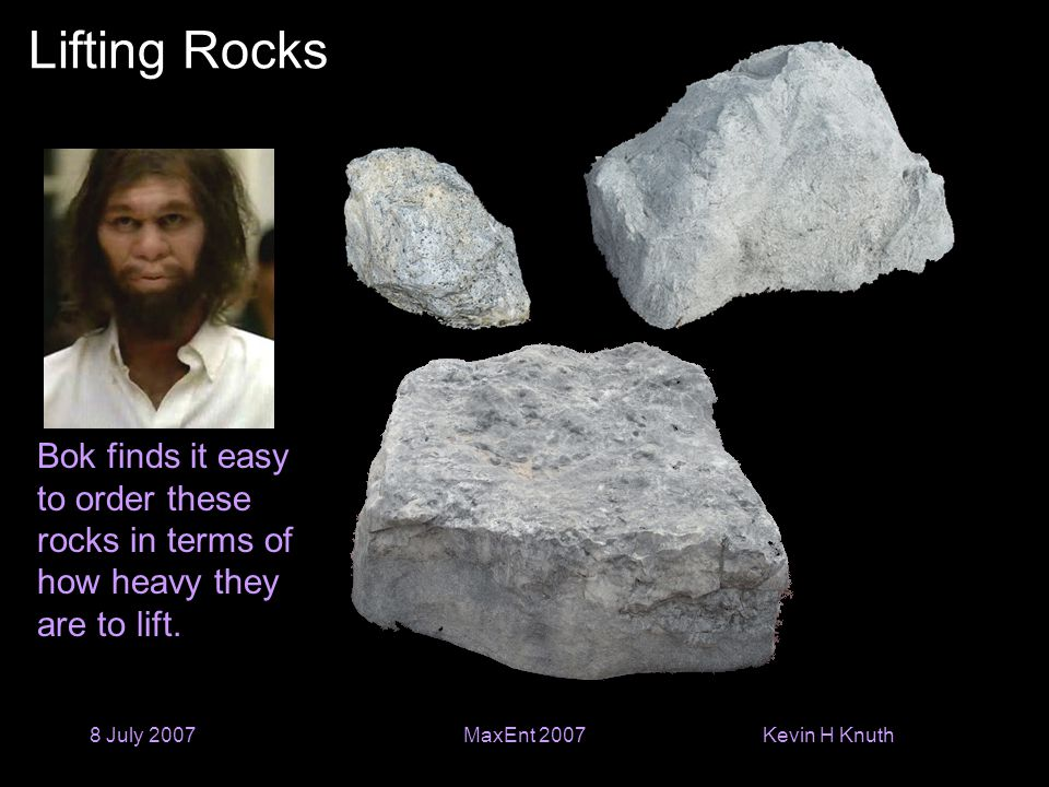 Kevin H Knuth 8 July 2007MaxEnt 2007 Lifting Rocks Bok finds it easy to order these rocks in terms of how heavy they are to lift.