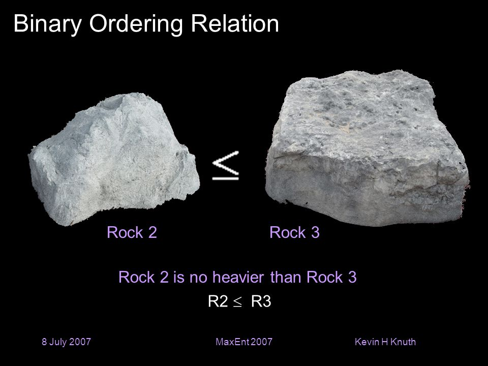 Kevin H Knuth 8 July 2007MaxEnt 2007 Binary Ordering Relation Rock 2 is no heavier than Rock 3 Rock 2Rock 3 R2  R3