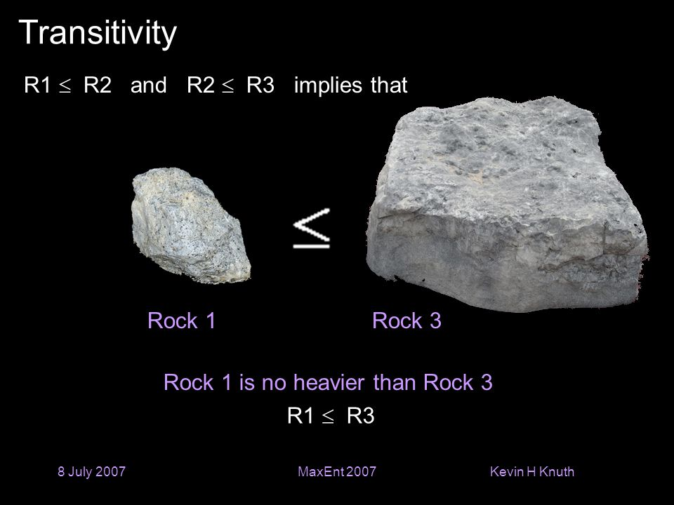 Kevin H Knuth 8 July 2007MaxEnt 2007 Transitivity Rock 1 is no heavier than Rock 3 Rock 1Rock 3 R1  R2 and R2  R3 implies that R1  R3