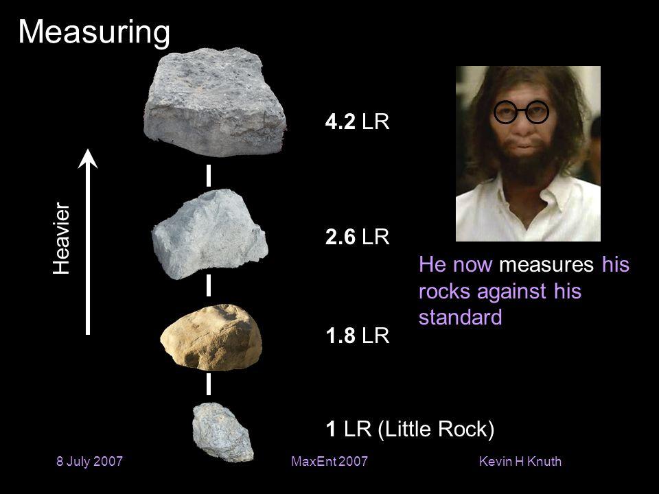 Kevin H Knuth 8 July 2007MaxEnt 2007 Measuring Heavier He now measures his rocks against his standard 1 LR (Little Rock) 2.6 LR 4.2 LR 1.8 LR