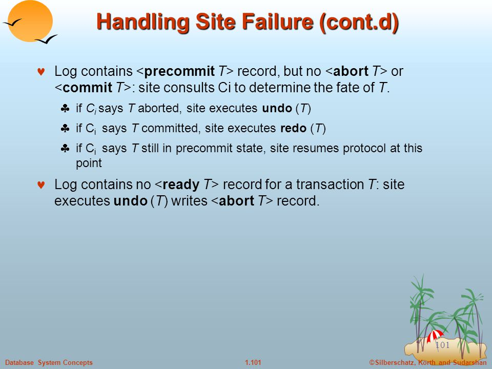 ©Silberschatz, Korth and Sudarshan1.101Database System Concepts 101 Handling Site Failure (cont.d) Log contains record, but no or : site consults Ci to determine the fate of T.