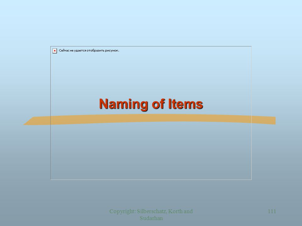 Copyright: Silberschatz, Korth and Sudarhan 111 Naming of Items
