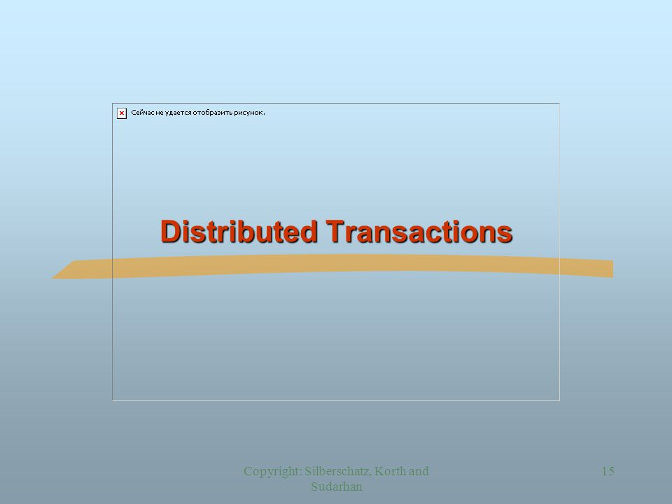 Copyright: Silberschatz, Korth and Sudarhan 15 Distributed Transactions