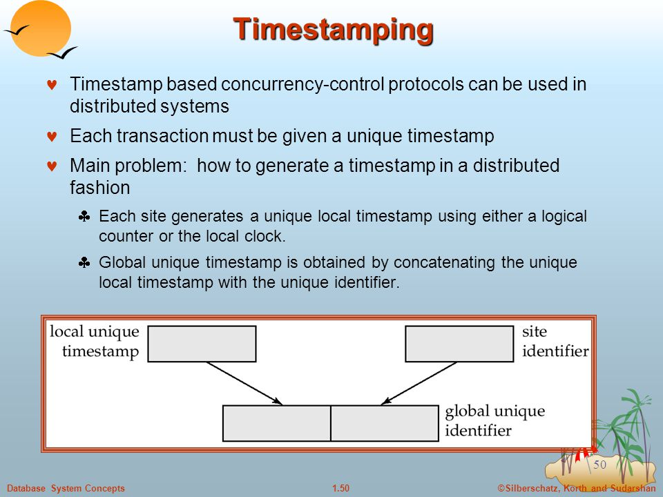©Silberschatz, Korth and Sudarshan1.50Database System Concepts 50 Timestamping Timestamp based concurrency-control protocols can be used in distributed systems Each transaction must be given a unique timestamp Main problem: how to generate a timestamp in a distributed fashion  Each site generates a unique local timestamp using either a logical counter or the local clock.