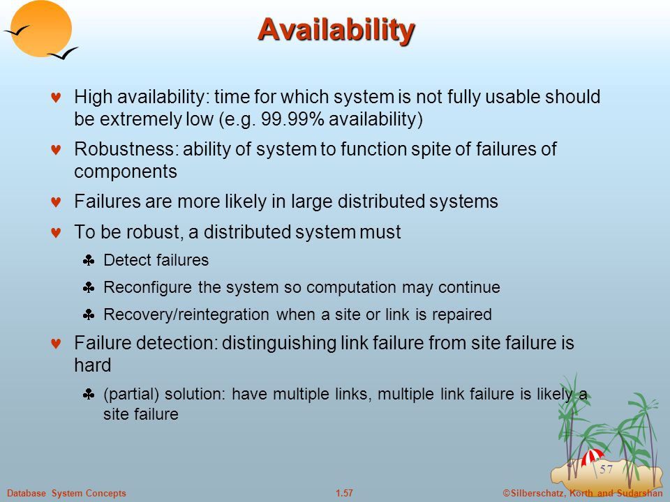 ©Silberschatz, Korth and Sudarshan1.57Database System Concepts 57 Availability High availability: time for which system is not fully usable should be extremely low (e.g.