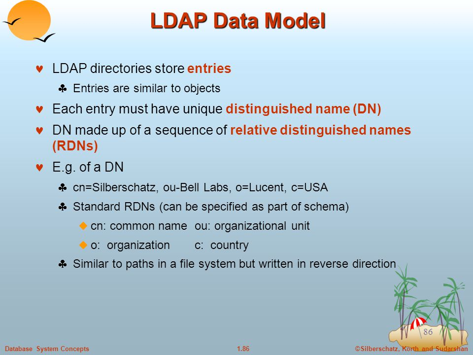 ©Silberschatz, Korth and Sudarshan1.86Database System Concepts 86 LDAP Data Model LDAP directories store entries  Entries are similar to objects Each entry must have unique distinguished name (DN) DN made up of a sequence of relative distinguished names (RDNs) E.g.