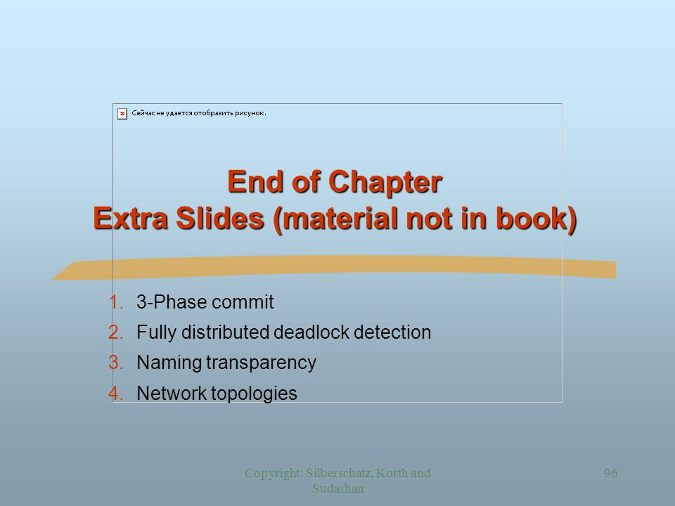 Copyright: Silberschatz, Korth and Sudarhan 96 End of Chapter Extra Slides (material not in book) 1.3-Phase commit 2.Fully distributed deadlock detection 3.Naming transparency 4.Network topologies