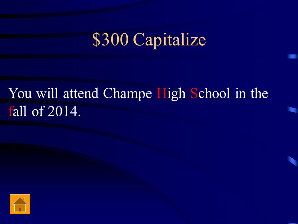 $300 Capitalization You will attend Champe high school in the Fall of 2014.