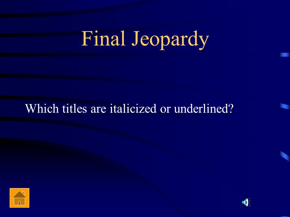 Final Jeopardy Topic Literary Devices