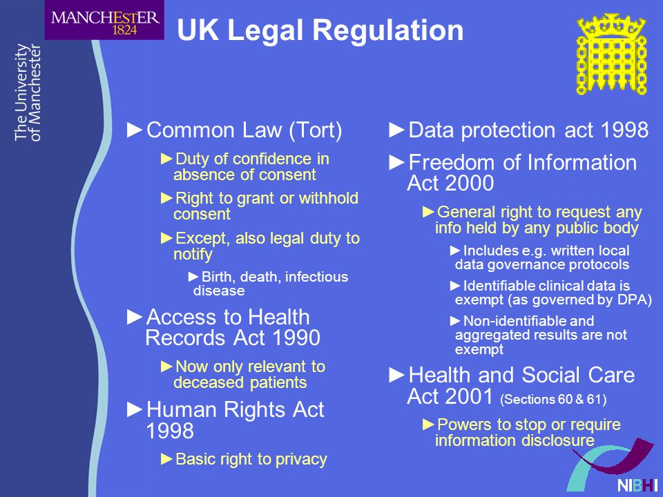 UK Legal Regulation ►Common Law (Tort) ►Duty of confidence in absence of consent ►Right to grant or withhold consent ►Except, also legal duty to notify ►Birth, death, infectious disease ►Access to Health Records Act 1990 ►Now only relevant to deceased patients ►Human Rights Act 1998 ►Basic right to privacy ►Data protection act 1998 ►Freedom of Information Act 2000 ►General right to request any info held by any public body ►Includes e.g.