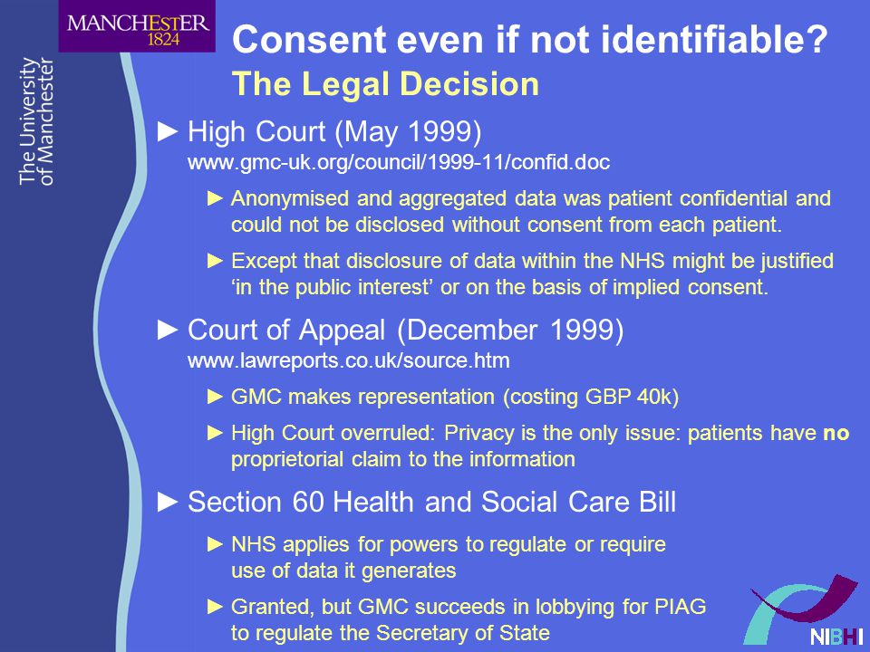 Consent even if not identifiable.