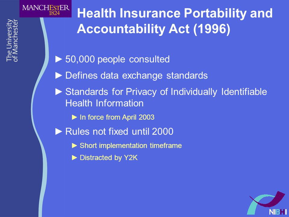 Health Insurance Portability and Accountability Act (1996) ►50,000 people consulted ►Defines data exchange standards ►Standards for Privacy of Individually Identifiable Health Information ►In force from April 2003 ►Rules not fixed until 2000 ►Short implementation timeframe ►Distracted by Y2K