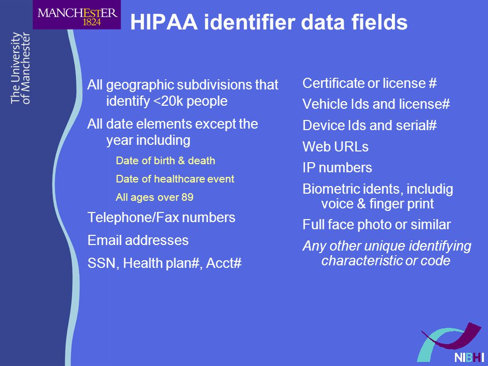 HIPAA identifier data fields All geographic subdivisions that identify <20k people All date elements except the year including Date of birth & death Date of healthcare event All ages over 89 Telephone/Fax numbers Email addresses SSN, Health plan#, Acct# Certificate or license # Vehicle Ids and license# Device Ids and serial# Web URLs IP numbers Biometric idents, includig voice & finger print Full face photo or similar Any other unique identifying characteristic or code