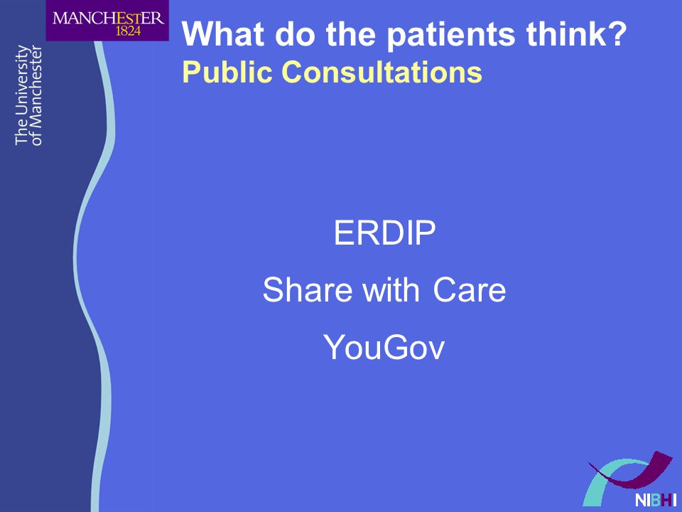 What do the patients think? Public Consultations ERDIP Share with Care YouGov