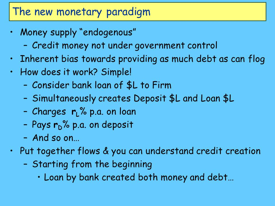 The new monetary paradigm Money supply endogenous –Credit money not under government control Inherent bias towards providing as much debt as can flog How does it work.