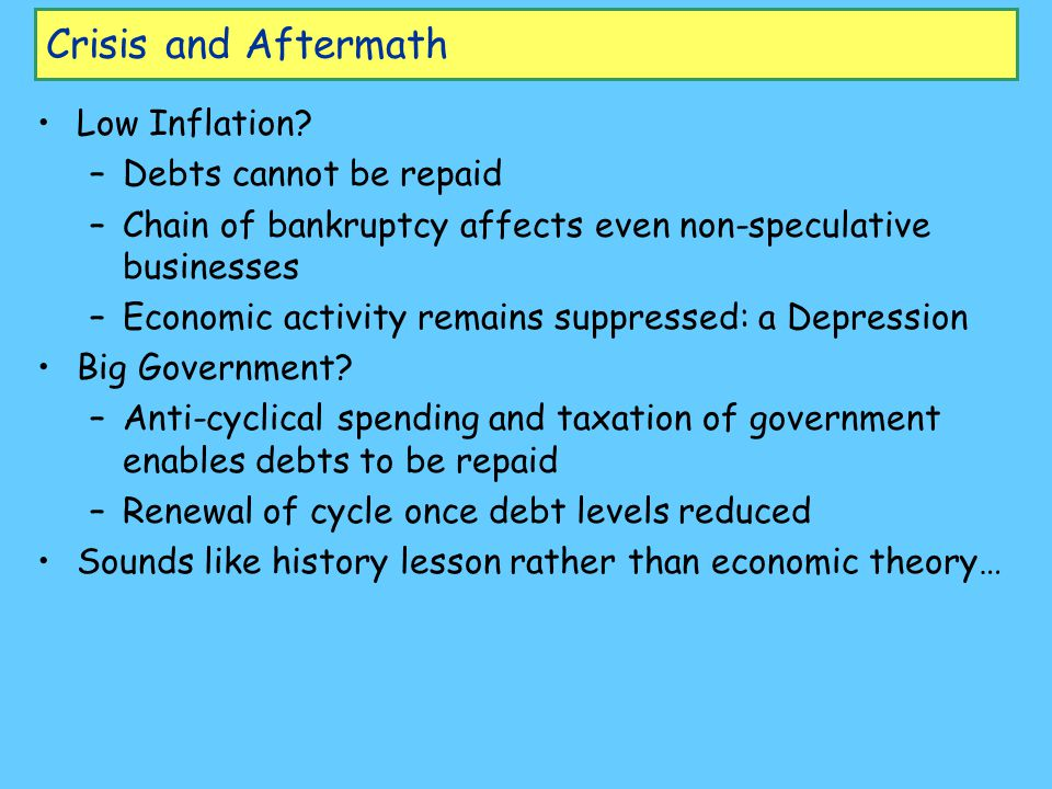 Crisis and Aftermath Low Inflation.