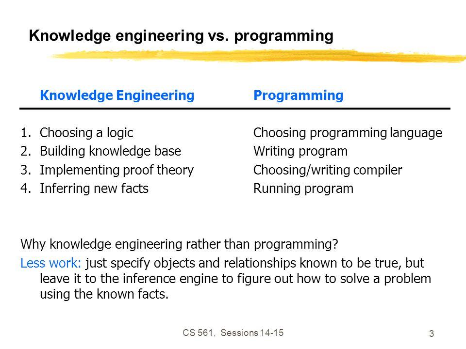 CS 561, Sessions 14-15 3 Knowledge engineering vs.