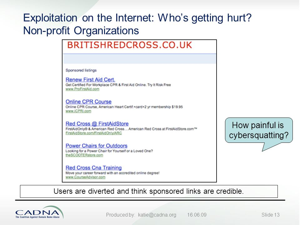 Produced by: katie@cadna.org 16.06.09Slide 13 Exploitation on the Internet: Who's getting hurt.