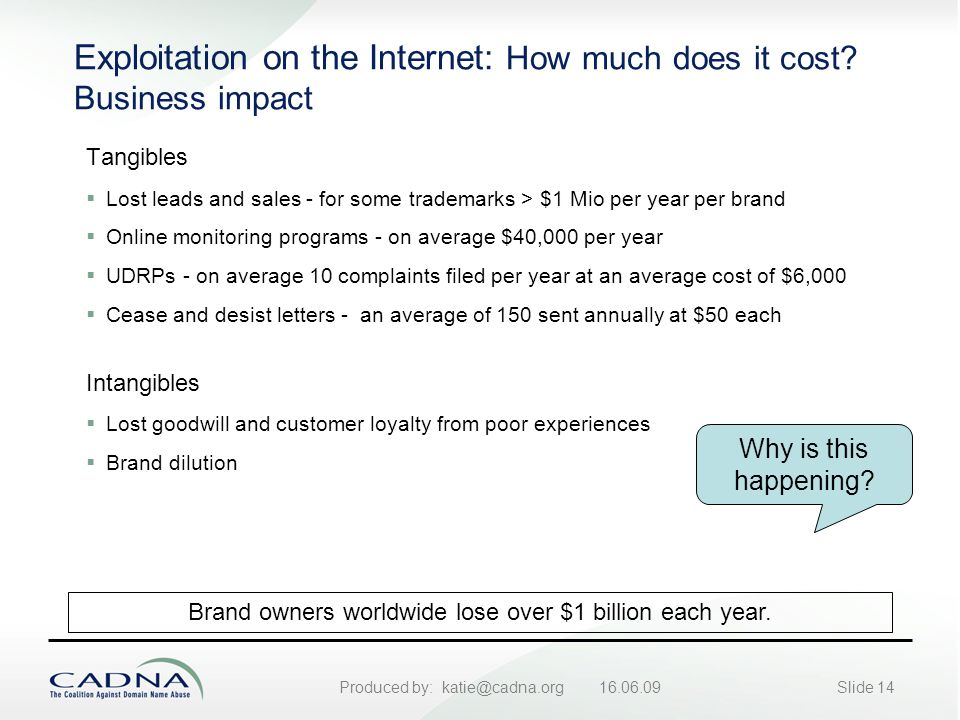 Produced by: katie@cadna.org 16.06.09Slide 14 Exploitation on the Internet: How much does it cost.