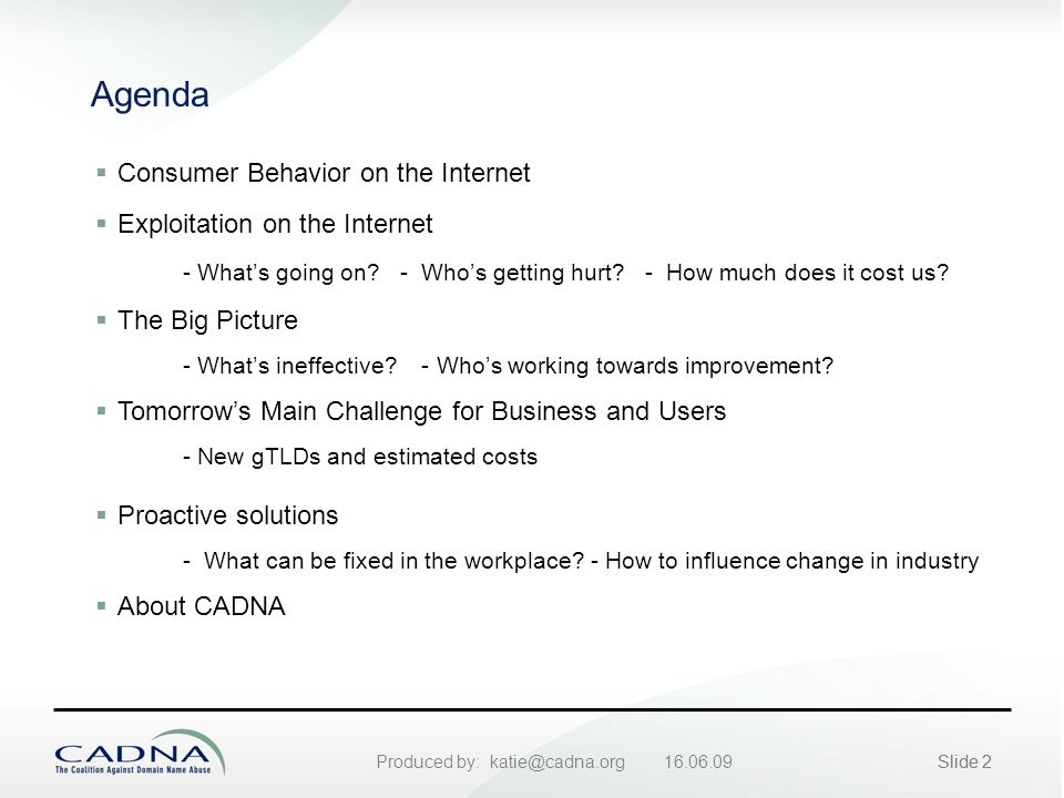 Produced by: katie@cadna.org 16.06.09Slide 2 Agenda  Consumer Behavior on the Internet  Exploitation on the Internet - What's going on.