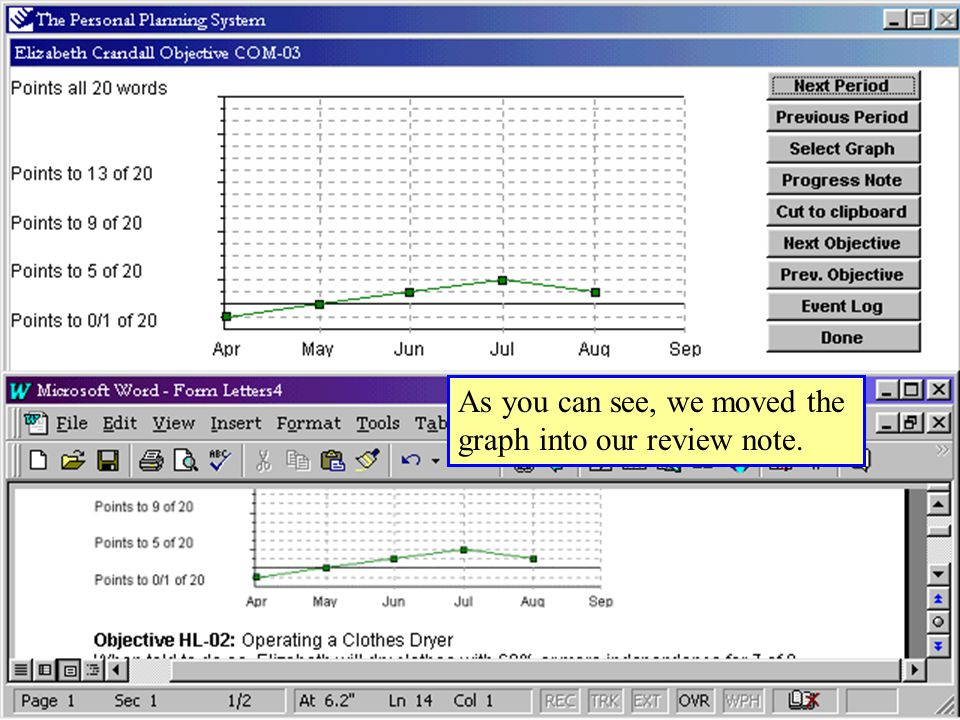 As you can see, we moved the graph into our review note.