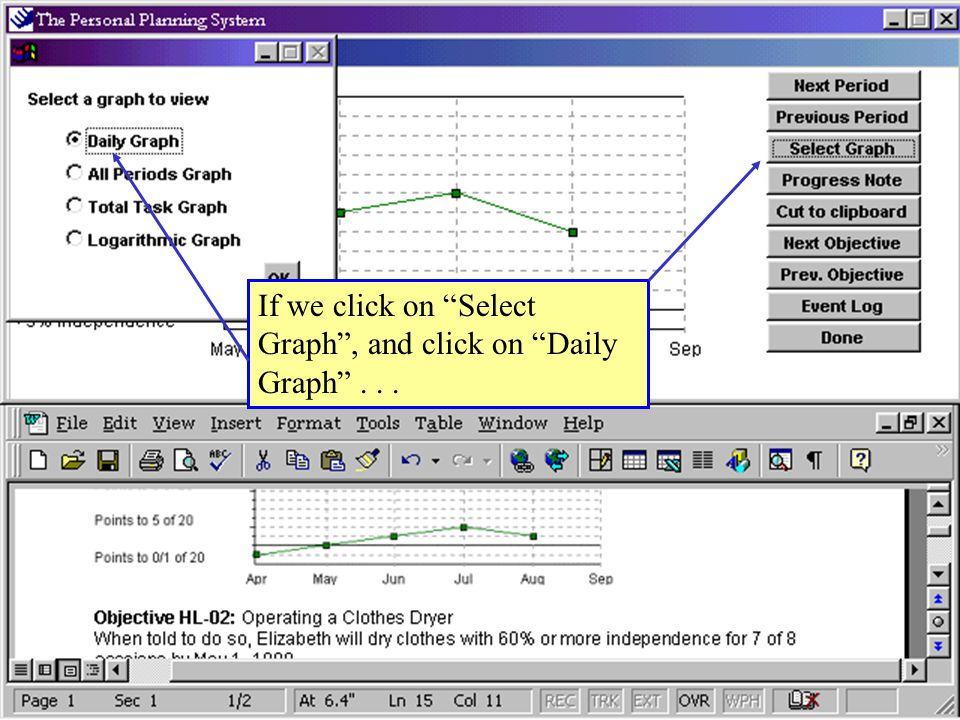 If we click on Select Graph , and click on Daily Graph ...