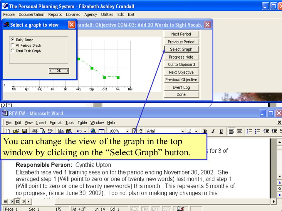 You can change the view of the graph in the top window by clicking on the Select Graph button.