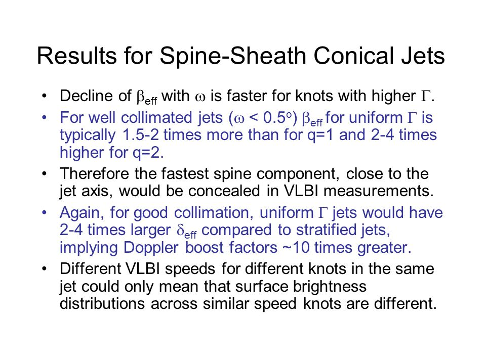 Results for Spine-Sheath Conical Jets Decline of  eff with  is faster for knots with higher .