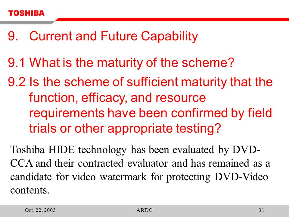 Oct. 22, 2003ARDG31 9.1 What is the maturity of the scheme.