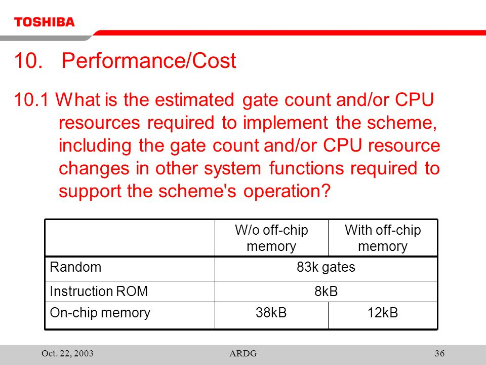 Oct. 22, 2003ARDG36 10.1 What is the estimated gate count and/or CPU resources required to implement the scheme, including the gate count and/or CPU r