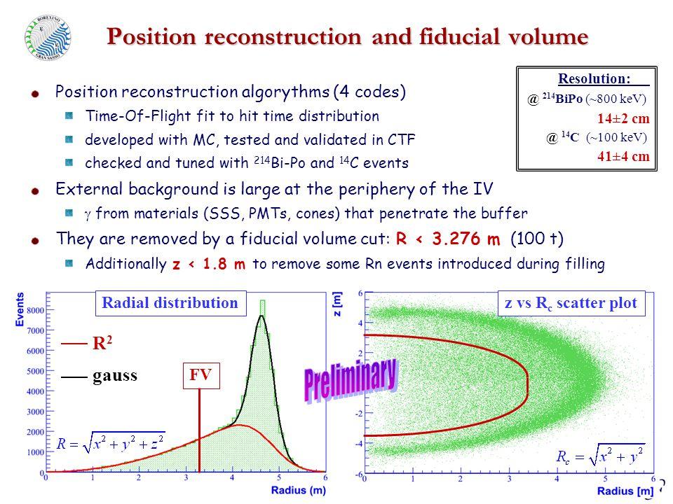 NNN 2007 - Hamamatsu, Oct 2-5 2007 D. D'Angelo – INFN sez. Milano Position reconstruction and fiducial volume Position reconstruction algorythms (4 co