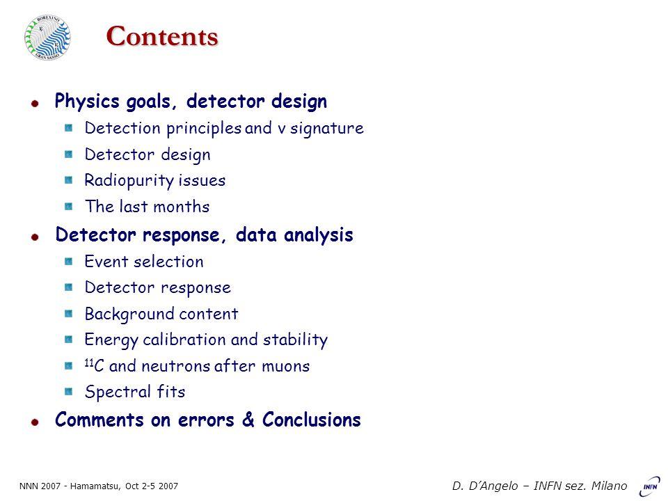 NNN 2007 - Hamamatsu, Oct 2-5 2007 D. D'Angelo – INFN sez. Milano Contents Physics goals, detector design Detection principles and ν signature Detecto