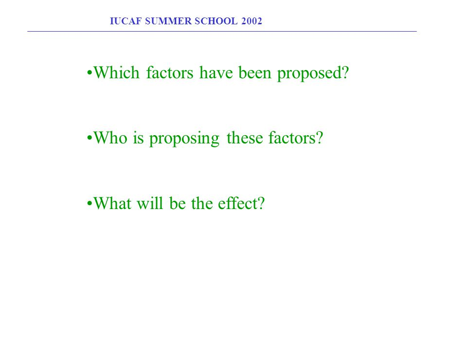 IUCAF SUMMER SCHOOL 2002 Which factors have been proposed? Who is proposing these factors? What will be the effect?