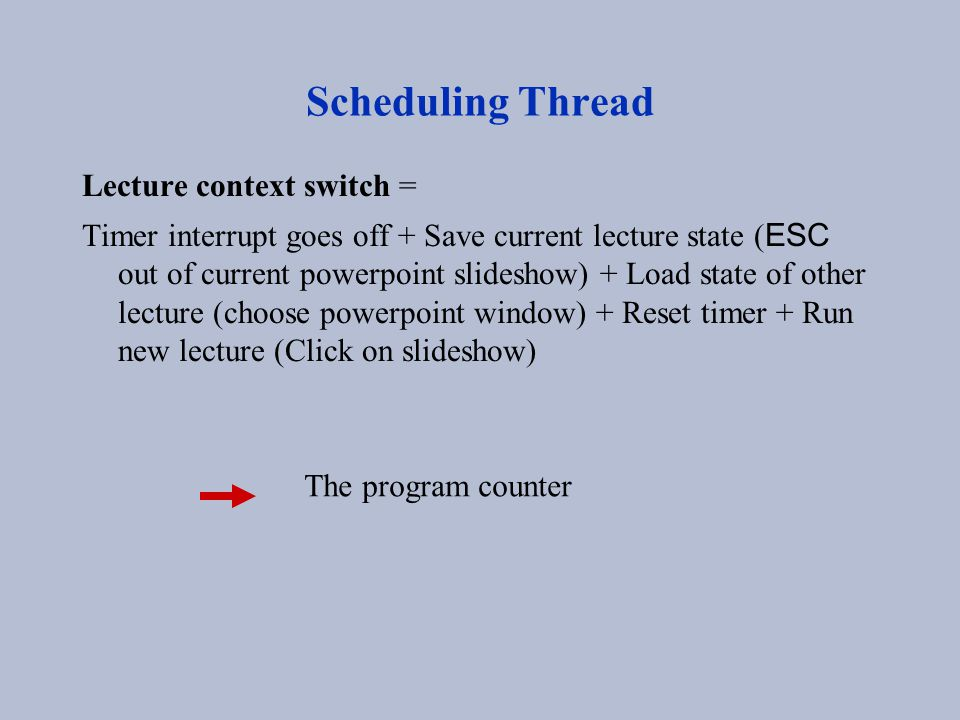 Scheduling Thread Lecture context switch = Timer interrupt goes off + Save current lecture state ( ESC out of current powerpoint slideshow) + Load sta