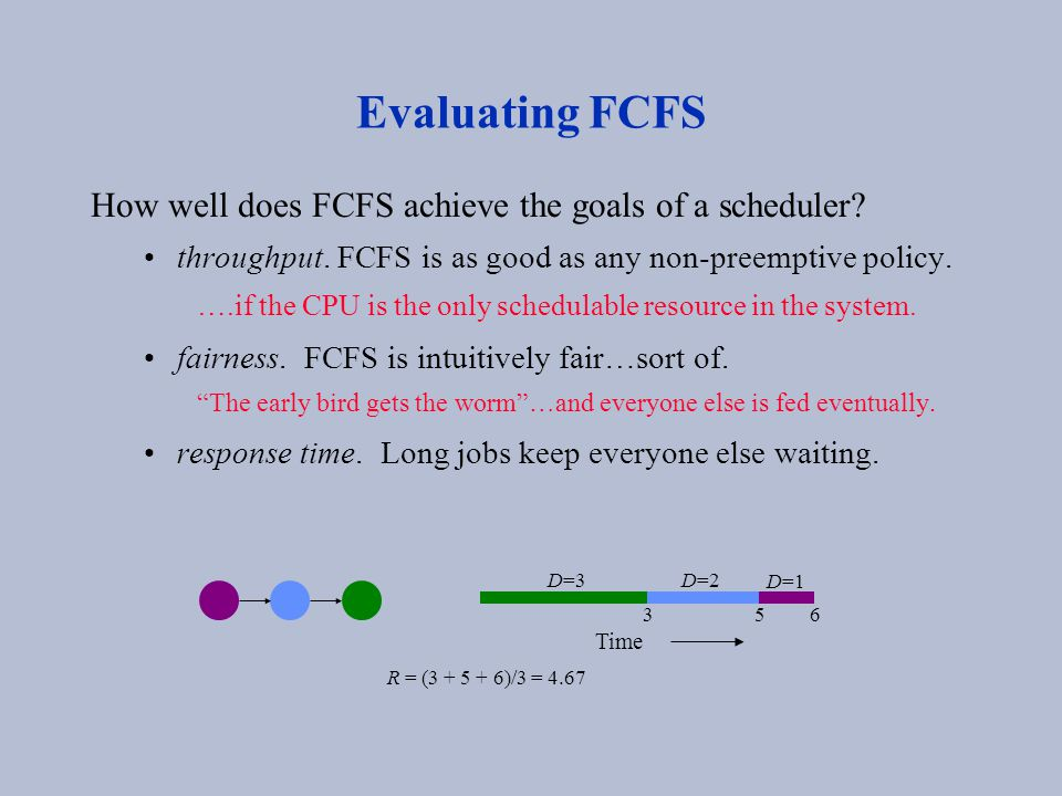 Evaluating FCFS How well does FCFS achieve the goals of a scheduler? throughput. FCFS is as good as any non-preemptive policy. ….if the CPU is the onl