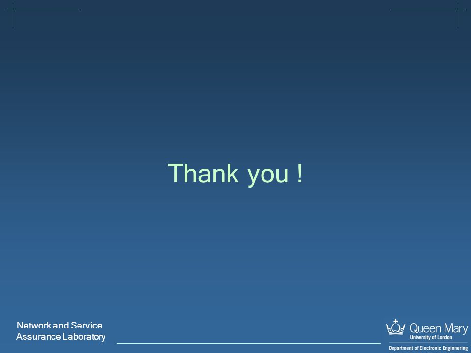 Network and Service Assurance Laboratory Thank you !