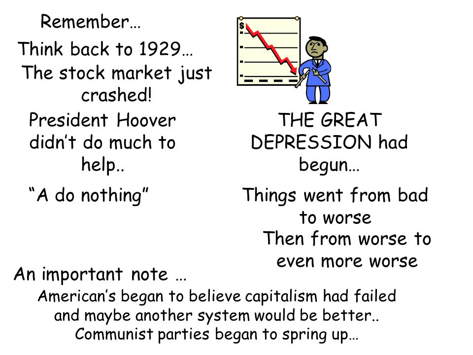 Remember… Think back to 1929… The stock market just crashed.