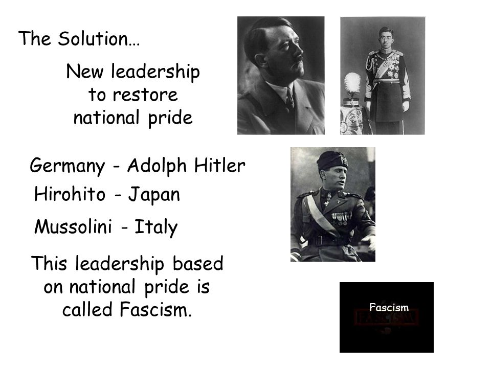 The Solution… New leadership to restore national pride Germany - Adolph Hitler Hirohito - Japan Mussolini - Italy This leadership based on national pride is called Fascism.