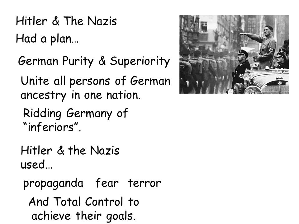 Hitler & The Nazis Had a plan… German Purity & Superiority Unite all persons of German ancestry in one nation.