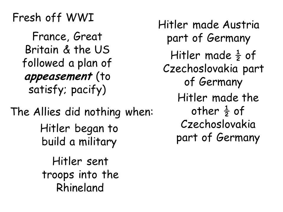 Fresh off WWI France, Great Britain & the US followed a plan of appeasement (to satisfy; pacify) The Allies did nothing when: Hitler began to build a military Hitler sent troops into the Rhineland Hitler made Austria part of Germany Hitler made ½ of Czechoslovakia part of Germany Hitler made the other ½ of Czechoslovakia part of Germany