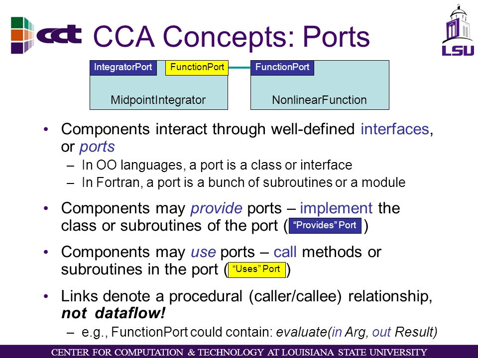 CENTER FOR COMPUTATION & TECHNOLOGY AT LOUISIANA STATE UNIVERSITY CCA Concepts: Ports Components interact through well-defined interfaces, or ports –In OO languages, a port is a class or interface –In Fortran, a port is a bunch of subroutines or a module Components may provide ports – implement the class or subroutines of the port ( ) Components may use ports – call methods or subroutines in the port ( ) Links denote a procedural (caller/callee) relationship, not dataflow.